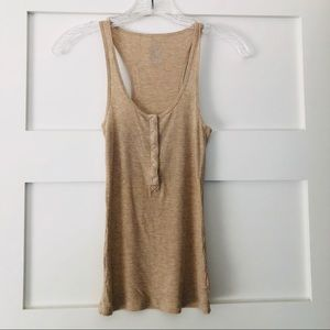 Aerie Real Soft Gold Ribbed Henley Tank